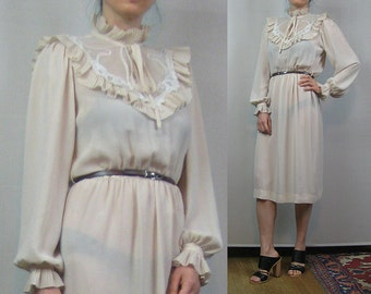 70s 80s EMBROIDERED LACE SHEER vtg Puffed Puff Sleeve Ruffled Victorian Style Ecru Ivory White Midi Dress Small s/m 1970s 1980s