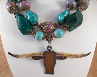 Western Cowgirl Statement Necklace Set - Chunky Green Agate - Aqua and Purple Howlite Turquoise - Texas Longhorn