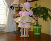 18 Inch Doll Pink Gingham and Yellow Bunny Print Dress, Pink Gingham Pants and Scalloped Floppy Brim Hat by SEWSWEETDAISY
