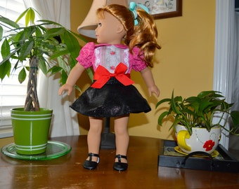 18 Inch Doll Clothes Black Imitation Leather Skirt, Pink and White Blouse and Red Ribbon Belt by SEWSWEETDAISY