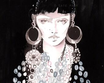 Mini Original Fashion Painting, Fashion Illustration, Small Fashion Painting, Fashion Art, Watercolor Fashion, Grey Pink Black Fashion