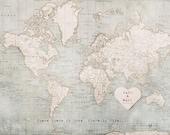 Custom World Map, First Year Anniversary Gift, 1st Year Anniversary Gifts, Travel Lovers Gift Ideas, Custom Anniversary Present, Wall Art