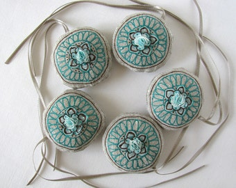 5 linen ornaments with hand painted silk flowers - azure and brown