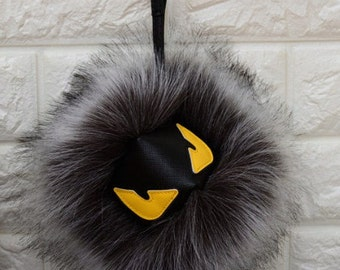 Fur Monster Pom Pom Keychain Purse Pendant Bag Accessory Backpack Charm Fur Pompom