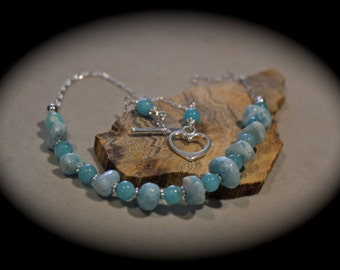 Larimar necklace on sterling silver by EvyDaywear, one of a kind only natural stone jewelry in robin's egg blue