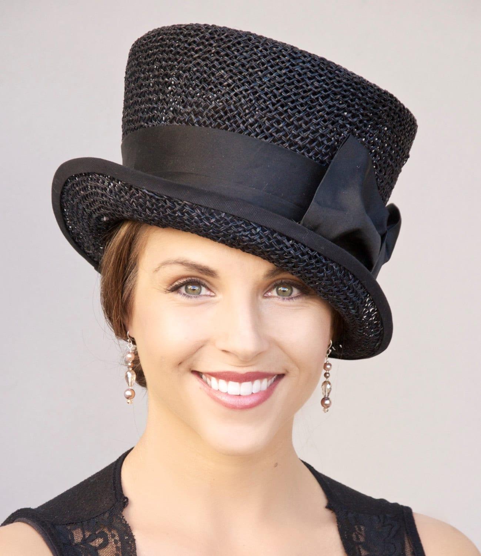s black hat church hat kentucky derby hat wedding