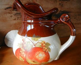 Vintage McCoy Harvest Fruit Design Water Pitcher 48 oz. 7515 USA Large Country style pitcher from McCoy's Fruit Festival Line