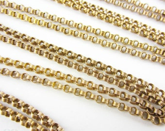 Antique Victorian Long Guard Chain, 9 Carat Gold Fancy Rolo Style Link Necklace with Dog Clip. Circa 1800s, 146 cm / 57.5 inches, 23.55 gr