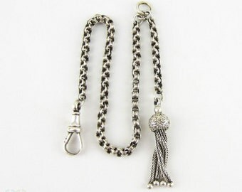 Victorian Sterling Silver Albertina, Antique Bracelet or Watch Chain with Belcher Style Links, Floral Tassel & Dog Clip, Circa 1800s.