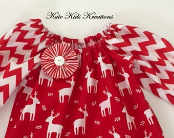 Toddler Christmas Dress, Peasant Dress, Red Chevron/Reindeer/Size 4T, Ready to Ship