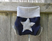 Upcycled Merino Wool Soaker Cover Diaper Cover With Added Doubler Navy/ Gray With Star  Applique NEWBORN 0-3M Kidsgogreen
