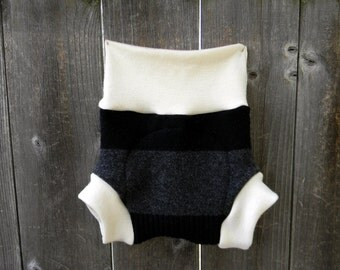 Upcycled Wool And Organic Merino Wool Interlock Soaker Cover Diaper Cover With Added Doubler Gray/ Black  Stripes  LARGE 12-24M