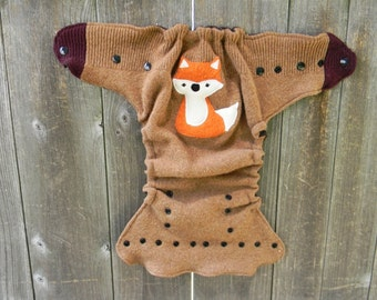 Upcycled  Wool Nappy Cover Diaper Wrap Cloth Diaper Cover One Size Fits Most Beige With Fox Applique/ Dark Brown