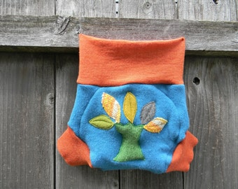 Upcycled  Wool Soaker Cover Diaper Cover With Added Doubler Teal/ Orange  With A Tree Applique LARGE 12-24M Kidsgogreen