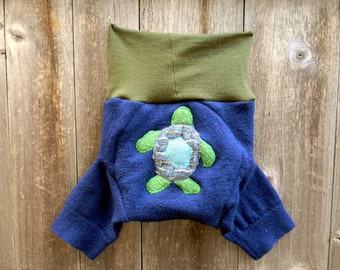 Upcycled Merino Wool  Soaker Cover Diaper Cover Shorties With Added Doubler Blue /Green  With Sea Turtle  Applique MEDIUM 6-12M Kidsgogreen