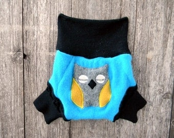 Upcycled Wool Soaker Cover Diaper Cover With Added Doubler Turquoise/ Black With Owl Applique LARGE 12-24M Kidsgogreen
