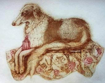 Etching / limited edition original etching (printmaking / graphic art) / original print / original art / dog etching / greyhound - 'Borzoi'