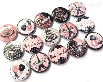 """Paris 1"""" Buttons, Paris Pins, Paris Buttons, Paris Decoration, Paris Pinbacks, Paris Flatbacks, Paris Parties, Oh La La, Paris Party Favors"""