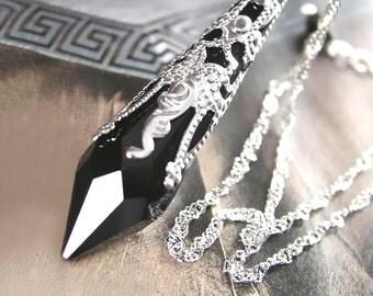 Black Crystal Necklace Sterling Silver Necklace Victorian Style Black Swarovski Crystal Black Pendant Necklace Crystal Teardrop Jewelry
