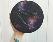 CAPRICORN Constellation Embroidery Hoop/ Sea Goat / Astrology/  Zodiac/ Cosmic/ Bedroom Decor/ Wall Hanging/ Thread Art/ Hand Embroidery