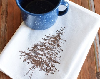 Cloth Napkins - Screen Printed Cloth Napkins - Eco Friendly Dinner Napkins - Fir Tree - Cotton Napkins - Napkin Set - Christmas Napkins