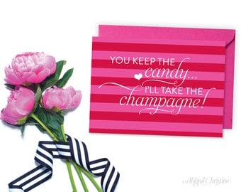 SALE!!! Valentine Greeting Card, Candy VS Champagne Greeting Card by Abigail Christine Design