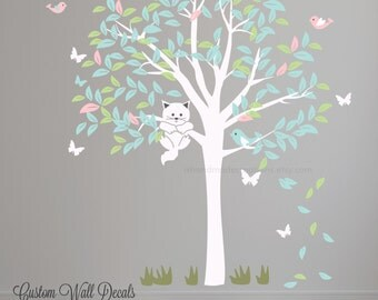 Tree  Wall decal cat tree Baby wall decals  Tree birds Wall Decal Large tree great for any room -removable