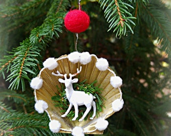 Gold Shell Ornament-Handmade Woodland Miniature Deer Christmas Tree Decoration-White Gold Natural Seashell Holiday Reindeer Tree Ornament