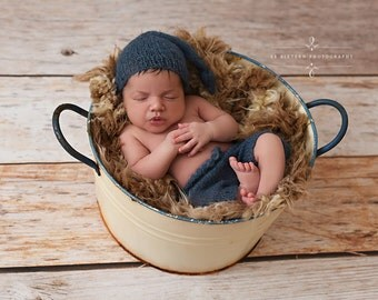 Denim Blue Mohair Knot Hat and Shorts Set Newborn Baby Photography Prop