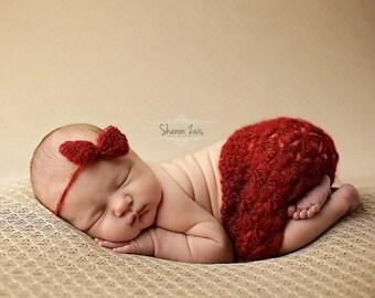 Burgundy Red Mohair Skirt and Headband Set Newborn Baby Photography Prop