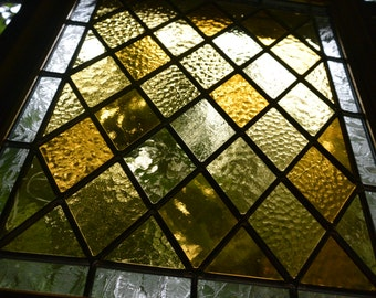 Stained Glass Amber Diamond Panel in Gold Ornate Flower Frame