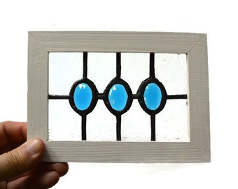 Stained Glass Miniature Window - with Turquoise Beveled Gems