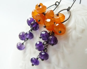 Orange Carnelian and purple Amethyst cluster earrings. February birthstone earrings. Amethyst earrings. Orange Carnelian. Purple and orange