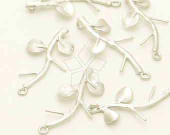 PD-1270-MS / 2 Pcs - Small Branch Pendant, Tree Pendant, Leaf Charm, Matte Silver Plated over Brass / 12mm x 23mm