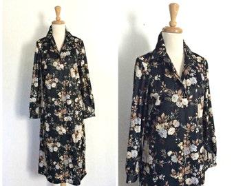 Vintage Black Floral Dress - 70s dress - pullover - day dress - knee length - long sleeve - M L