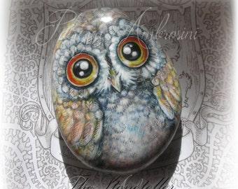 Owl  -  No.30     Barn Owl     Medium   Hand-painted stone
