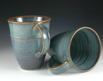One Pair - 12 oz Light Blue Ceramic Coffee / Tea Mug - Stoneware Pottery