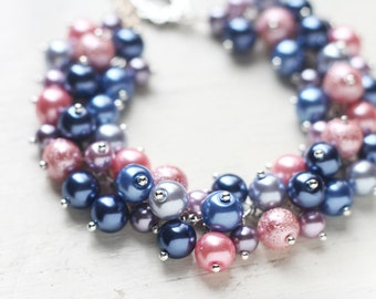 Blue Pink and Lavender Wedding Jewelry for Bridesmaids, Pearl Cluster Bracelet