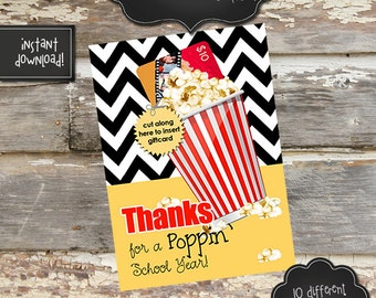 TEACHER APPRECIATION MOVIE Gift Card Holder - 5x7 - Instantly Downloadable Digital File - You Print