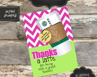 TEACHER APPRECIATION COFFEE Gift Card Holder - 5x7 - Instantly Downloadable Digital File - You Print