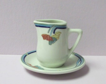 1980's Art Deco Style Rego Trio Restaurant Ware Creamer Small Syrup Pitcher with Underplate