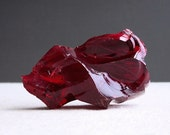 Vintage Ruby Red Glass Cullet - Factory Waste Glass - Paperweight Glass Chunk - Bookends Table Decoration
