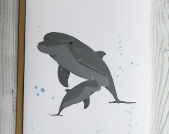 Dolphin and Baby Card, Invitation, Blank Card, Greeting Card, All Occasion Card