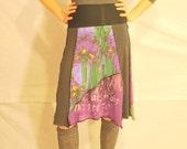 Recycled tee shirt skirt  small with rayon yoga style waistband  S0105