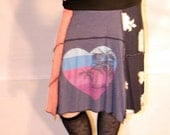 Recycled tee shirt skirt  plus size with yoga pant style waistband P0093