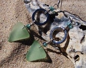 Sea Glass Earrings with Sea Foam Green Triangles of Sea Glass and Silver Circles on Sterling Silver French Ear Wires EA 39