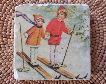 "Marble Stone Coaster - ""Cute Kids"" - Vintage Ski - Ski Decor - Decorative Tile - Ski Gift"