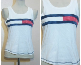90s Tommy Hilfiger Tank Top Medium Tommy Flag Logo Throwback Wavvy Hip Hop