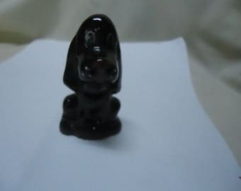 Vintage Dark Brown Ceramic Hound Dog Figurine, collectable