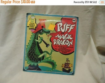 Independence Day Sale Vintage Puff The Magic Dragon Childrens Record by Peter Pan 45 Rpm, collectable. extended play